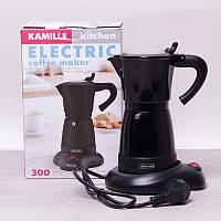 Кофеварка гейзерная электрическая из алюминия 0,3 л Kamille 2600