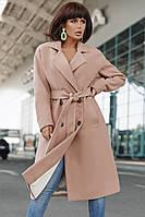 Двубортное кашемировое пальто с поясом и карманами