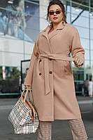 Модное батальное пальто с поясом и карманами