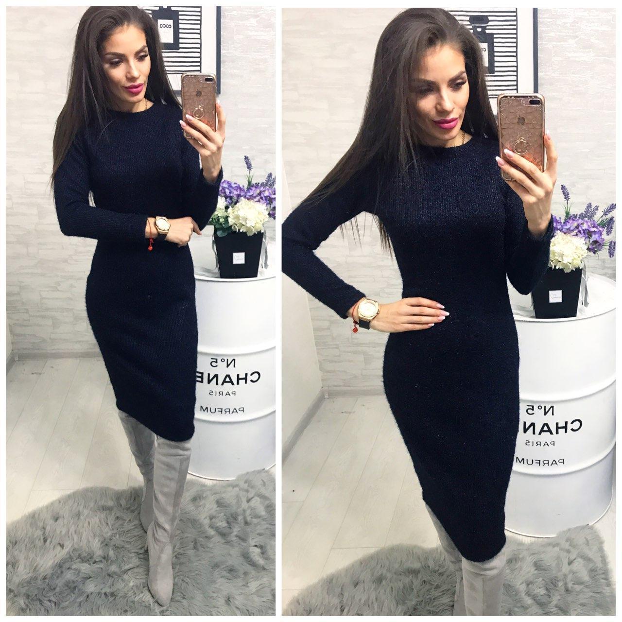 Платье 800/2 ангора софт люрекс синий