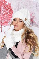 Комплект «Агнес» (шапка, хомут и перчатки) цвет белый артикул 4633-37б