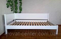 """Белая двуспальная кровать угловая из дерева с выдвижными ящиками """"Шанталь"""", фото 3"""