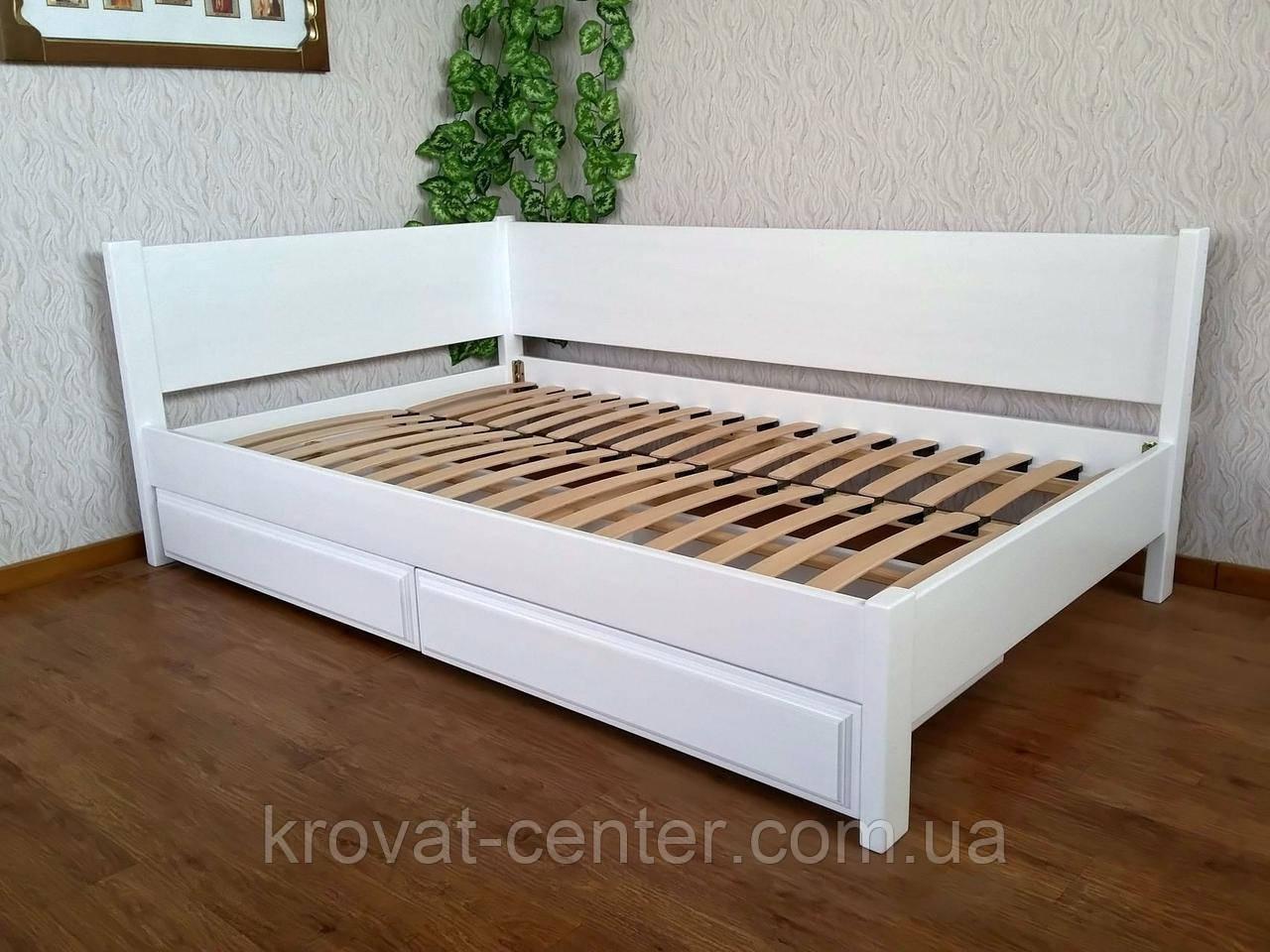 """Белая двуспальная кровать из дерева с выдвижными ящиками """"Шанталь"""""""