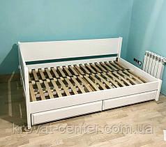 """Белая двуспальная кровать из дерева с выдвижными ящиками """"Шанталь"""", фото 3"""