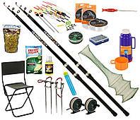 Рыболовный набор на Две удочки 4м с кольцами 17в1 стул со спинкой, термос, садок, прикормки