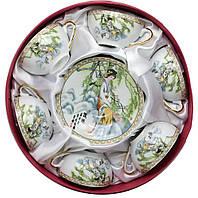 Набор чайных цветных фарфоровых чашек  Китай