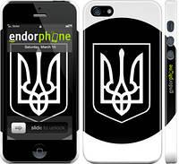 "Чехол на iPhone 5 Герб Украины чёрно-белый ""878c-18"""