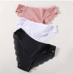 Женские трусы L (46-48 размер) - 3шт. 95% cotton, 5% elastan