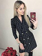 Женское платье-пиджак  офисное на запах в клетку , полоску, фото 1