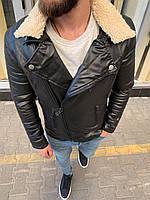 Модная мужская черная куртка косуха кожзам с меховым воронтиком демисезонная куртка косуха черная