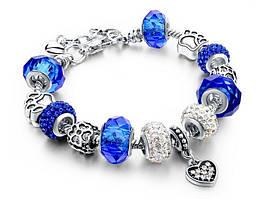 Браслет в стиле Pandora Сердце Синий (1001198-Blue-0)