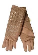 Перчатки теплые женские коричневые 022А