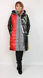 Турецкая стеганая женская жилетка с капюшоном, большие размеры 52-64