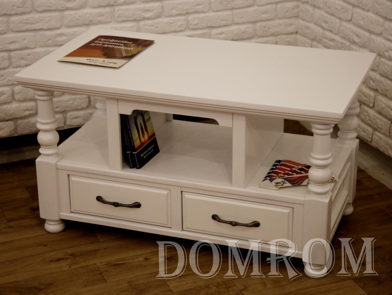 """Журнальный белый столик  """"Прованс"""" из ясеня, фото 1"""