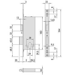 Cisa 1.12011.50.0 врізний електромеханічний замок для дерев'яних і легких металевих дверей