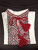 Вышиванка-футболка с коротким рукавом для маленького мальчика белая с красной вышивкой 86