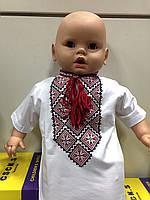 Вышиванка-футболка с коротким рукавом для маленького мальчика белая с красной вышивкой 104