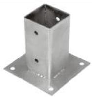 Опора стояка плоская для крепления балок к бетону 91х91х150х2.0 мм.