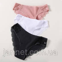 Женские трусики XXL (52 размер) - 3шт. 95% cotton, 5% elastan