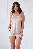 """Пижама женская майка и шорты бежевого цвета """"Magnolia"""" качество premium"""