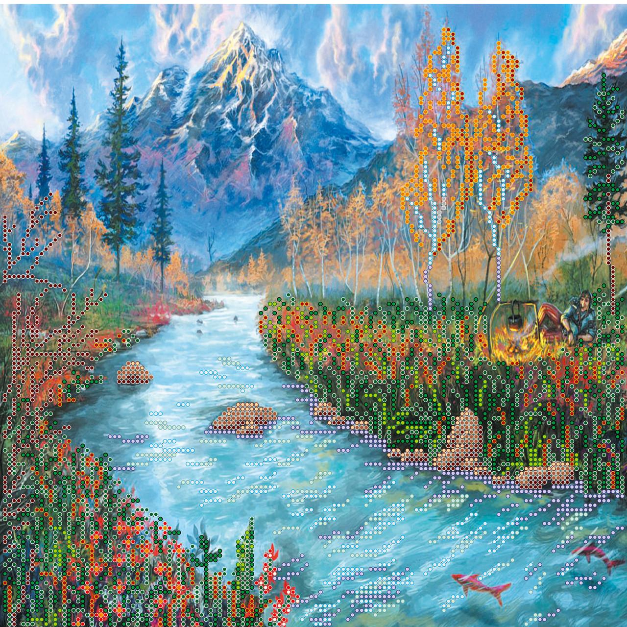 Схема для вишивання бісером на холсті «Відпочинок біля річки»,30x30см,Abris art