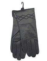 Теплые зимние черные женские перчатки из натуральной кожи