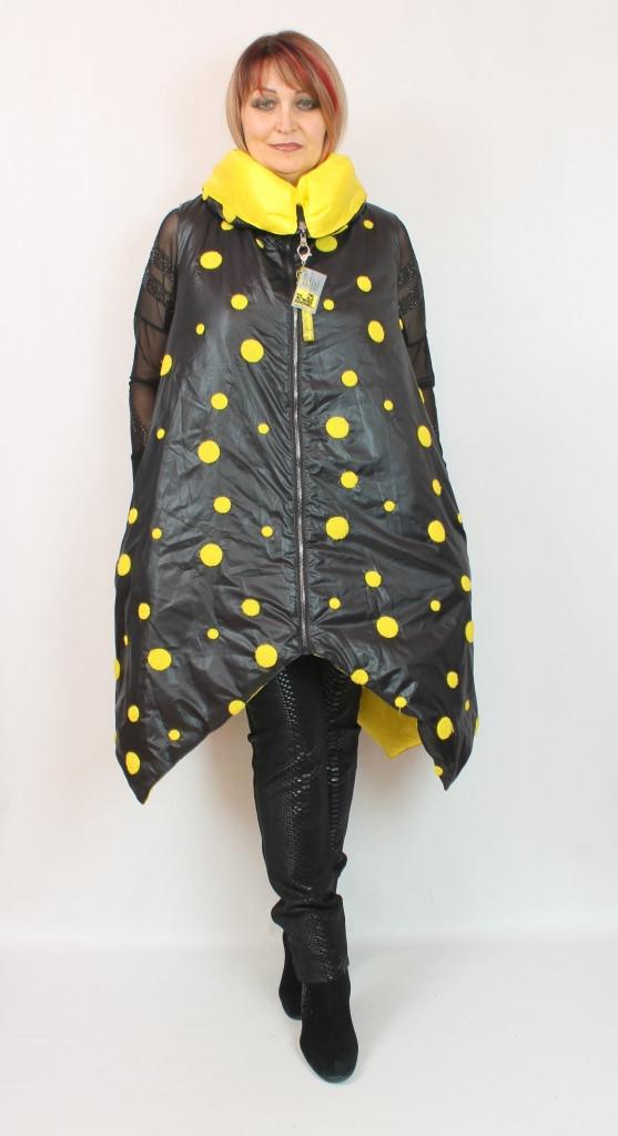 Турецкая черная женская жилетка в желтый горох, большие размеры 50-62