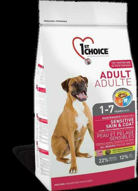 Сухой корм для собак с ягнёнком и океанической рыбой 1st Choice Adult Sensitive Lamb&Fish 15 кг
