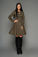 Женское повседневное платье цвета хаки, эко замша