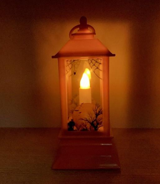 Большой дворцовый фонарь на Хэллоуин Halloween 20 см (Моргает свеча, издает смех)