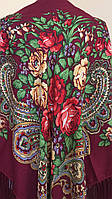Хустина бордова з квітами та орнаментом NoVa 130*130 см, фото 1