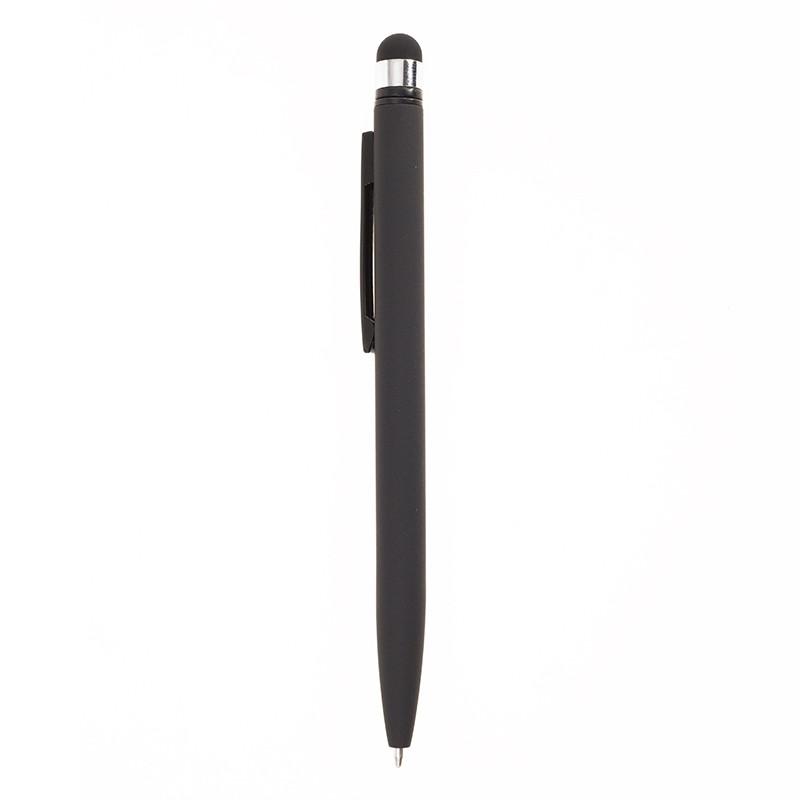 Ручка-стилус металлическая Bergamo, под нанесение логотипа, Soft покрытие