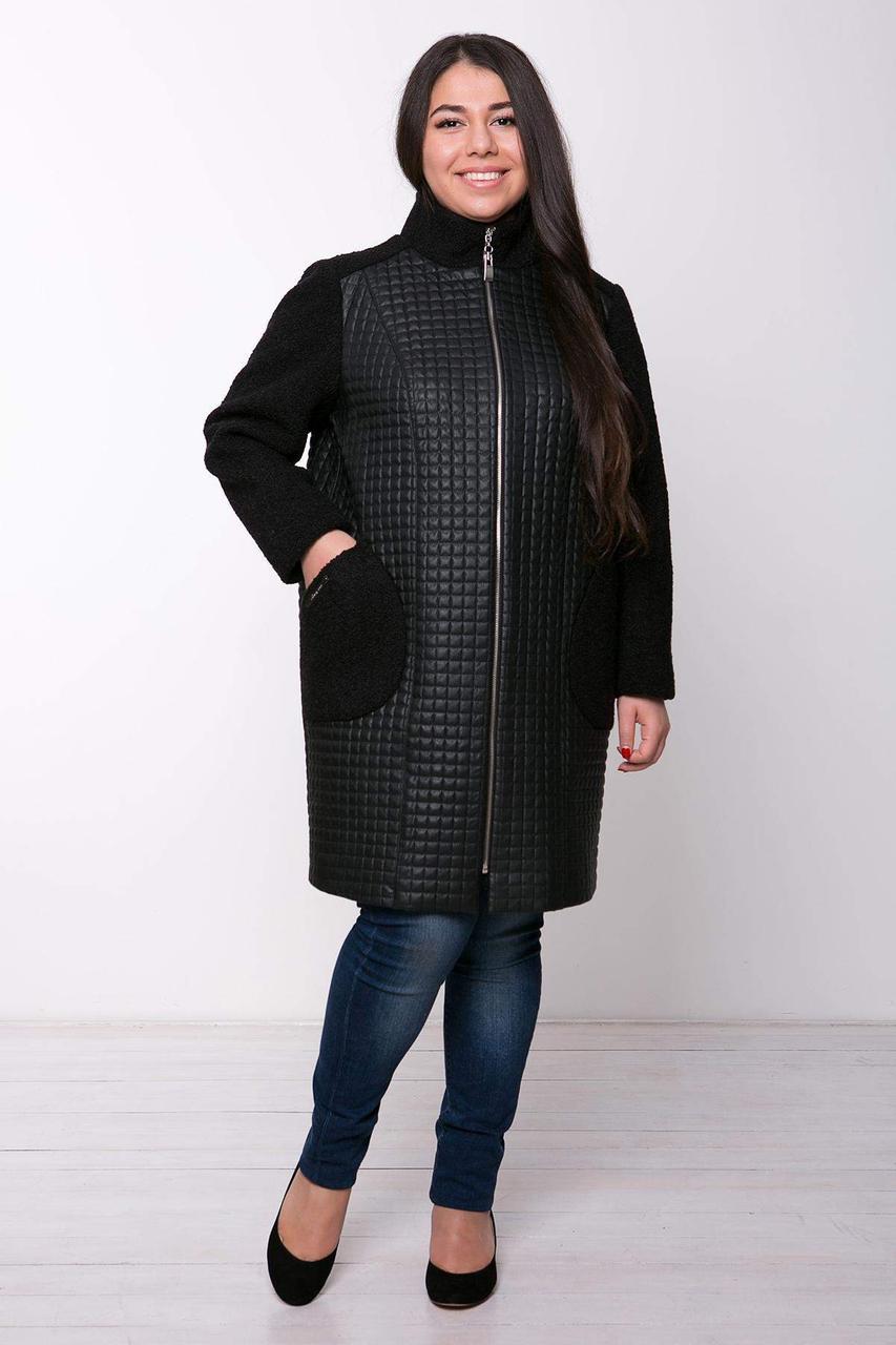Женское стеганое пльто из эко кожи и букле больших размеров с 54 по 64