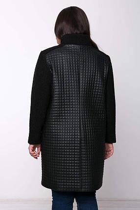 Женское стеганое пльто из эко кожи и букле больших размеров с 54 по 64, фото 2