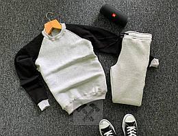 Теплый спортивный костюм черно-серого цвета