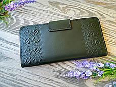 Гаманець жіночий зелена вишиванка, фото 2