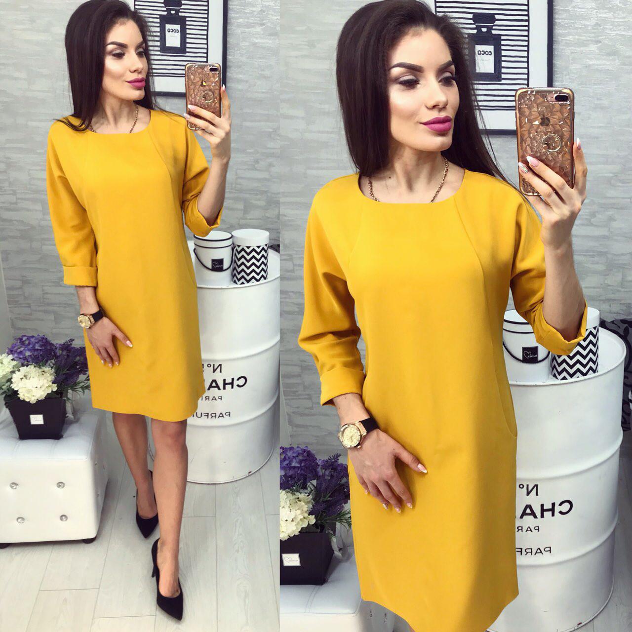 Платье женское, модель 772 , горчичного цвета