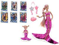 """Кукла """"Defa Lucy""""""""Русалочка"""" 21011   6 видов, меняет цвет волос, с куколкой,в кор. 29см"""