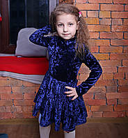 Синее нарядное детское платье на девочку из бархата