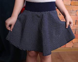 Нарядная детская юбка-колокол для девочки в горошек