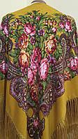 Хустина золотиста з квітами та орнаментом NoVa 120*120 см, фото 1