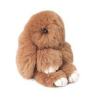 Кролик-брелок из натуральной шерсти 14 см Коричневый (1001883)