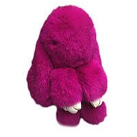 Кролик-брелок из натуральной шерсти 14 см Розовый (1001883_1)