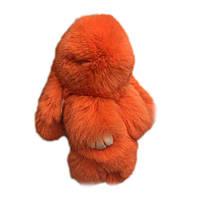 Кролик-брелок из натуральной шерсти 14 см Оранжевый (1001883_2)