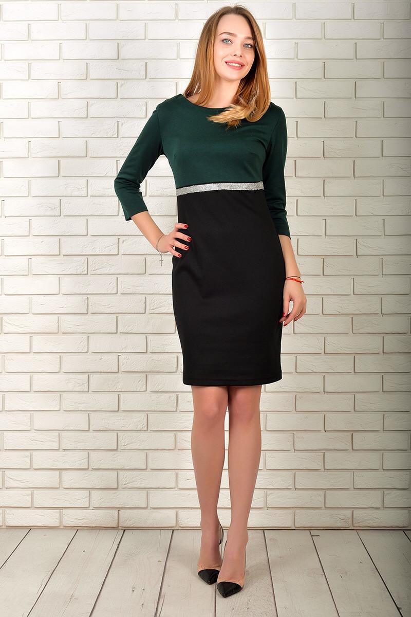 Сукня 808 турецький трикотаж,Темно-зелений з чорним