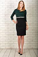 Сукня 808 турецький трикотаж,Темно-зелений з чорним, фото 1