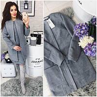 Пальто-кашемир, женское, 808,   цвет Серый