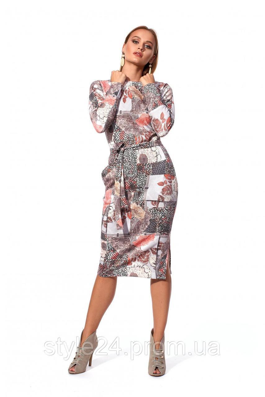 ЖІноче ангорове плаття з узорами та поясом  . Р-ри  42-48