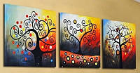 Картины по номерам 50х120 см. Триптих Дерево счастья, фото 1