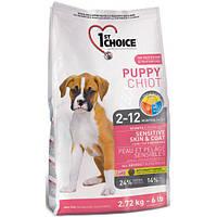 Сухой корм для щенков всех пород с ягненком и океанической рыбой 1st Choice Puppy Sensitive Skin&Coat 14 кг